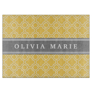 Stylish Yellow Quatrefoil Pattern with Name Cutting Board