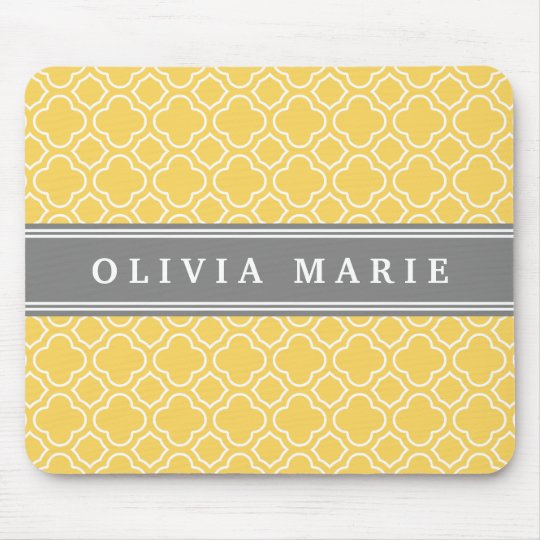 Stylish Yellow Quatrefoil Pattern with Name Mouse Mat