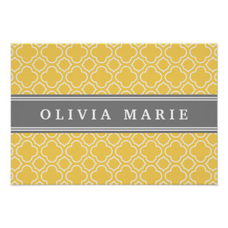 Stylish Yellow Quatrefoil Pattern with Name Poster