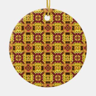 Stylish yellow red design christmas tree ornament