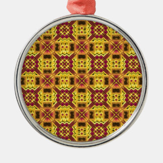Stylish yellow red design Silver-Colored round decoration