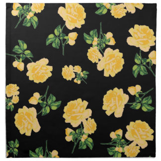 Stylish yellow roses pattern black cloth napkins