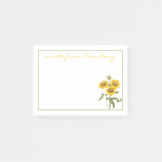 Stylish Yellow Sunflowers Personalized Post-it Notes