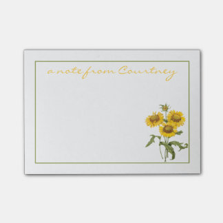 Stylish Yellow Sunflowers Personalized Post-it® Notes