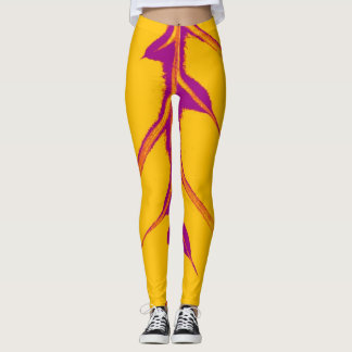 Stylish Yellow Violet Leaf Leggings