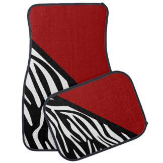 Stylish Zebra Print and Red Car Mats Floor Mat