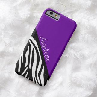 Stylish Zebra Print Purple Monogram iPhone Case
