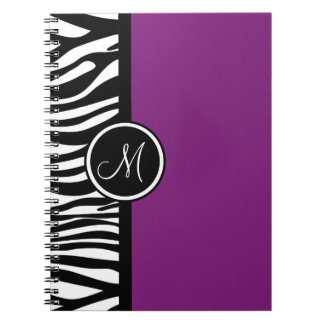 Stylish Zebra Print Purple Monogram Notebook