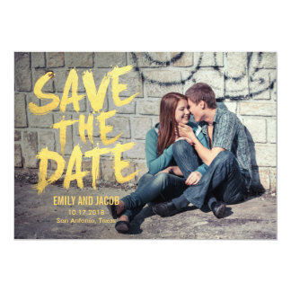 Stylishly Brushed Photo Save The Date Card 13 Cm X 18 Cm Invitation Card