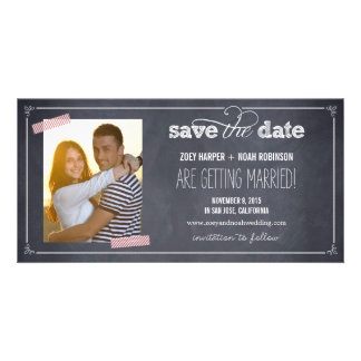 Stylishly Chalked 1 Photo Save The Date Cards Customized Photo Card