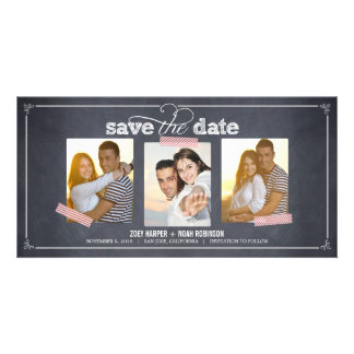 Stylishly Chalked 3 Photos Save The Date Cards Photo Cards