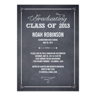 Stylishly Chalked Graduation Invitation Announcement