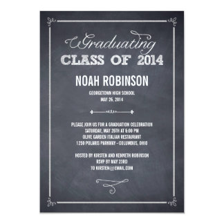 "Stylishly Chalked Graduation Invitation 5"" X 7"" Invitation Card"