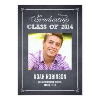 Stylishly Chalked Photo Graduation Invitation Announcements