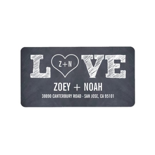Stylishly Chalked Wedding Address Labels