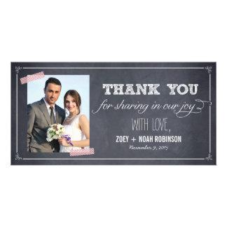 Stylishly Chalked Wedding Thank You Photo Cards