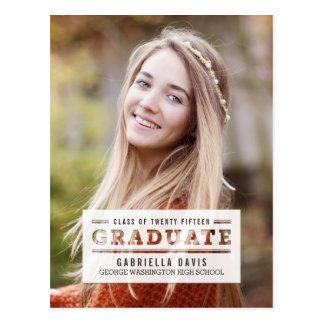 Stylishly Cut Graduation Announcement /Invitation Postcard