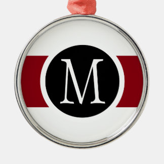 Stylishly Elegant Black, White & Red Line Monogram Christmas Ornament