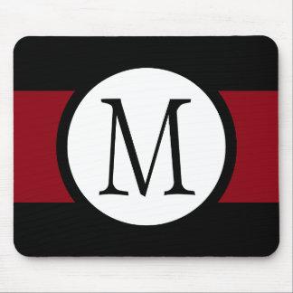 Stylishly Elegant Black, White & Red Line Monogram Mouse Mat