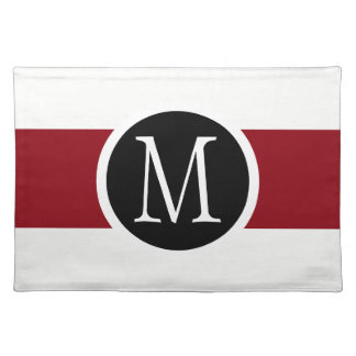 Stylishly Elegant Black, White & Red Line Monogram Placemat