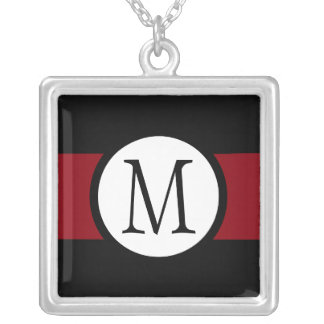 Stylishly Elegant Black, White & Red Line Monogram Silver Plated Necklace