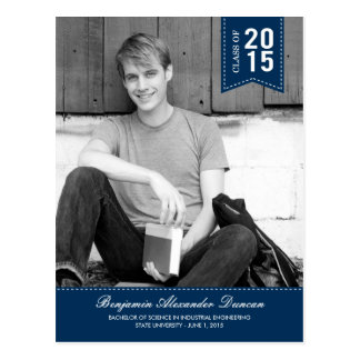 Stylishly Stitched Graduation Announcement /Invite Postcard
