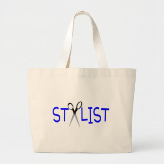 Stylist Blue with Scissors Jumbo Tote Bag