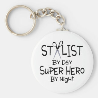 Stylist By Day Super Hero By Night Basic Round Button Key Ring