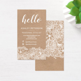 Stylist white hello floral kraft typography business card