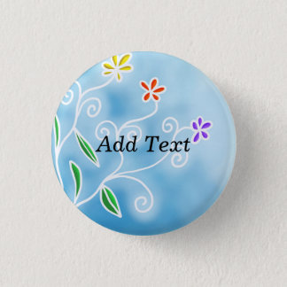 Stylistic Blue and White Floral Design, Template 3 Cm Round Badge