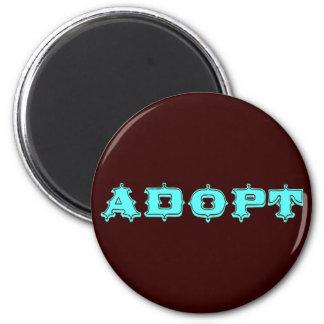 Stylized Adopt Design 6 Cm Round Magnet