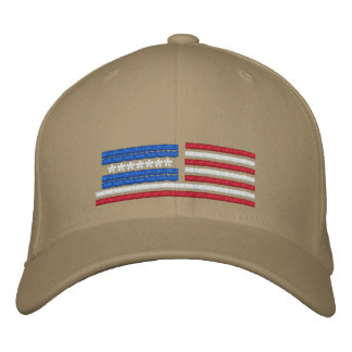 Stylized American Flag Design Embroidered Hat