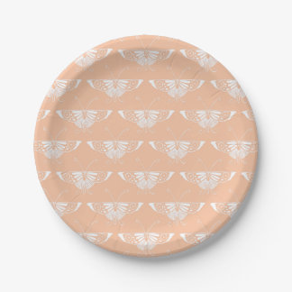 Stylized Art Deco butterfly  - soft peach 7 Inch Paper Plate