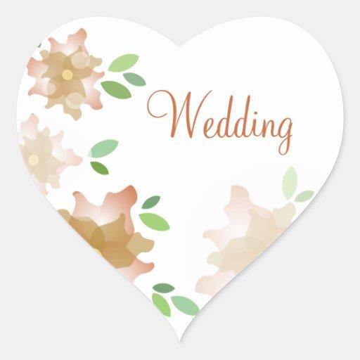 Stylized Azaleas Brown Wedding Stickers
