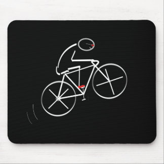 Stylized Bicyclist Design Mouse Mat