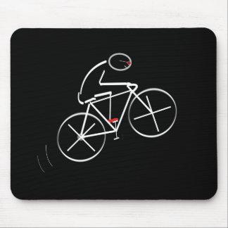 Stylized Bicyclist Design Mousepads