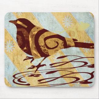 Stylized Bird and Swirls Mouse Pad