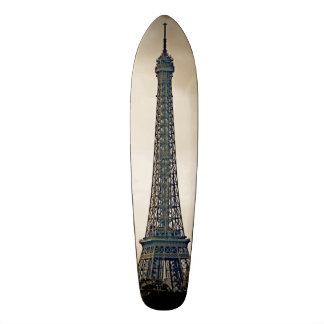 Stylized Black & white image of the Eiffel Tower Skate Boards