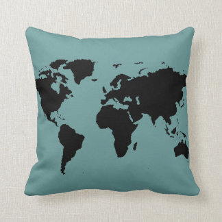 stylized black world map cushion