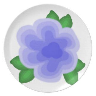 Stylized Blue Flower Plate