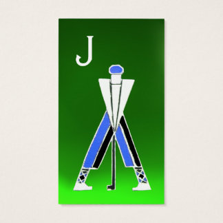 STYLIZED BLUE GOLFER ,GOLF INSTRUCTOR MONOGRAM BUSINESS CARD