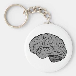Stylized Brain Magnet Basic Round Button Key Ring