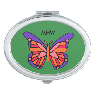 Stylized Butterfly custom monogram pocket mirrors Compact Mirror