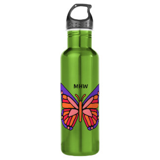 Stylized Butterfly custom monogram water bottle