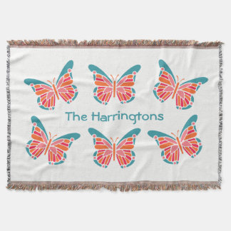 Stylized Butterfly custom name throw blanket