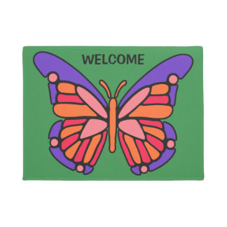 Stylized Butterfly custom text & color door mats