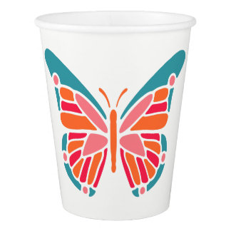 Stylized Butterfly custom text paper cups