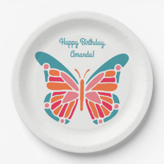 Stylized Butterfly custom text paper plates 9 Inch Paper Plate
