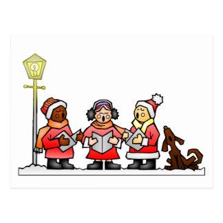 Stylized Cartoon Christmas Carolers Caroling Postcard