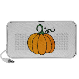 Stylized Cartoon Pumpkin with Fly Buzzing Nearby Notebook Speaker